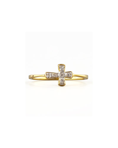 KC Designs Diamond-Cross Stacking Ring, Yellow Gold