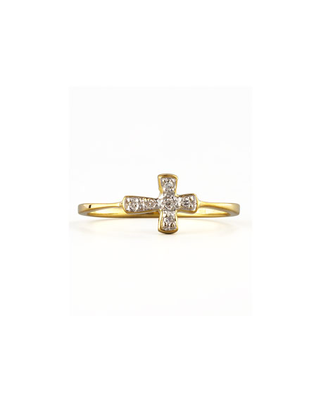 Diamond-Cross Stacking Ring, Yellow Gold