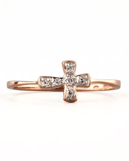 KC Designs Diamond-Cross Stacking Ring, Rose Gold