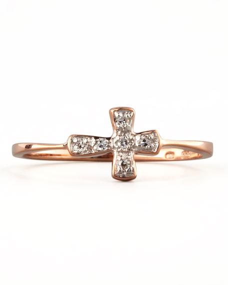 Diamond-Cross Stacking Ring, Rose Gold