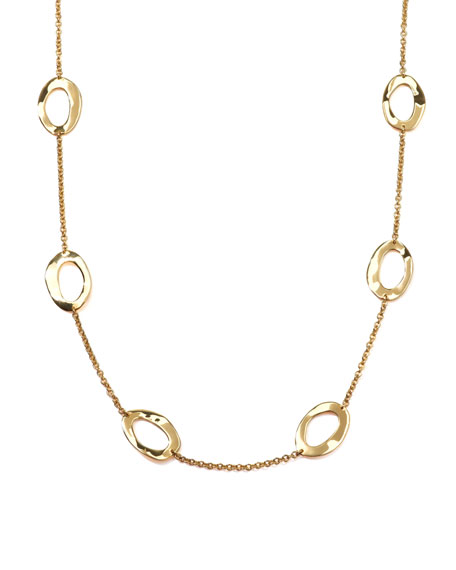 Wavy Open-Oval Chain Necklace