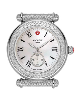 MICHELE Caber Pave Diamond Watch Head, Stainless Steel
