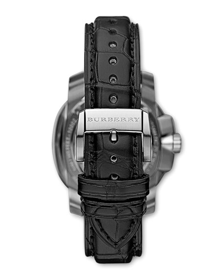 43mm Automatic Alligator Watch, Black