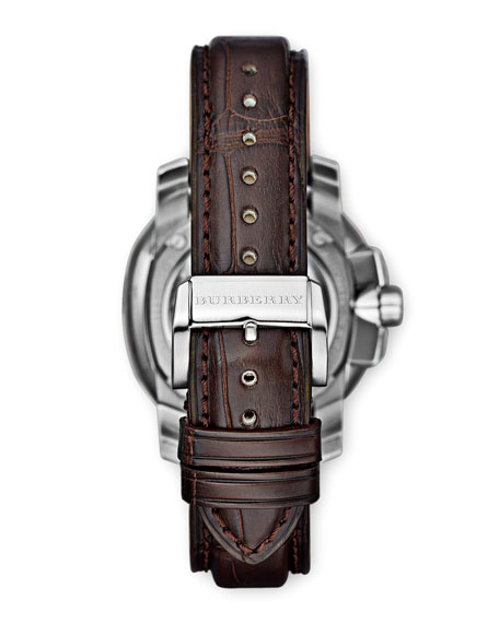 43mm  Automatic Alligator Watch, Dark Brown