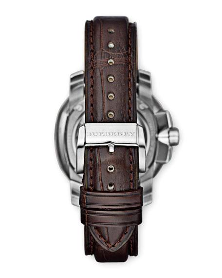 43mm  Automatic Alligator Watch, Dark Brown