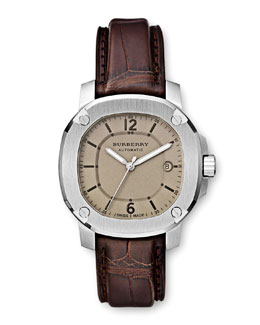 Burberry 43mm  Automatic Alligator Watch, Dark Brown