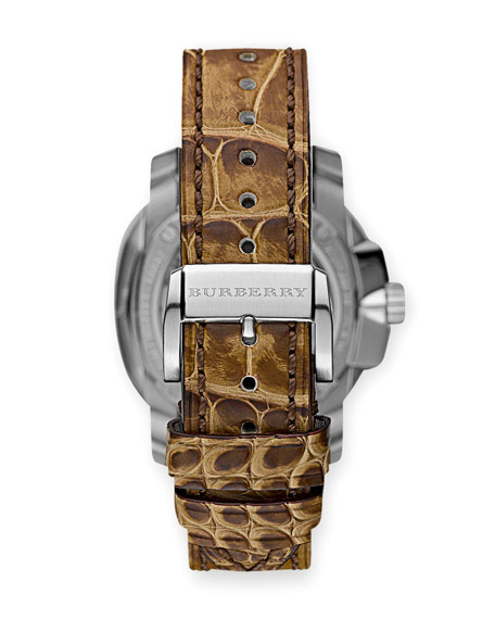 43mm  Automatic Alligator Watch, Light Brown