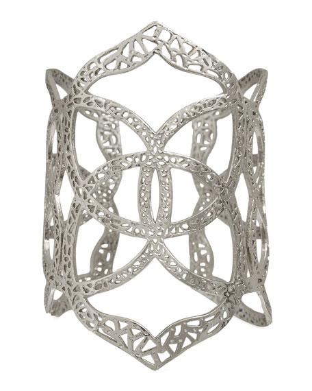 Roni Logo Cuff Bracelet, Rhodium