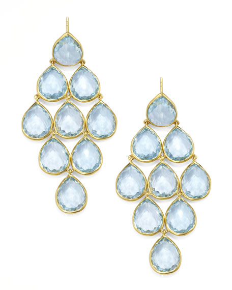 Rock Candy Blue Topaz Cascade Earrings