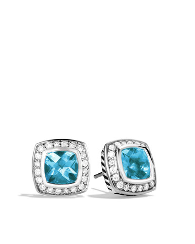 David Yurman 7mm Blue Topaz Petite Albion  Earrings
