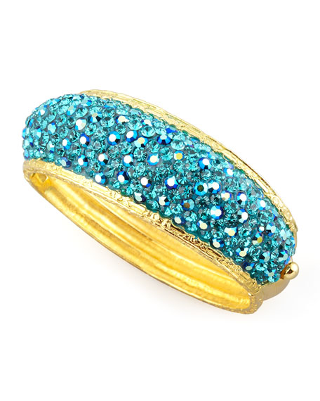 Pave Crystal Cuff, Light Blue