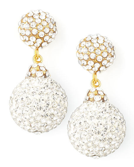 Pave Crystal Double-Drop Earrings, Clear