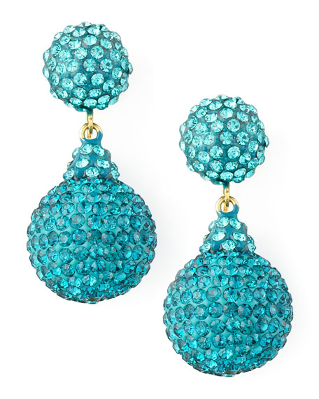 Pave Crystal Double-Drop Earrings, Light Blue