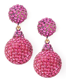 Jose & Maria Barrera Pave Crystal Double-Drop Earrings, Fuchsia