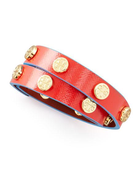 Logo-Studded Wrap Bracelet, Red/Turquoise