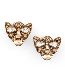 Oscar de la Renta Crystal Panther Clip Earrings