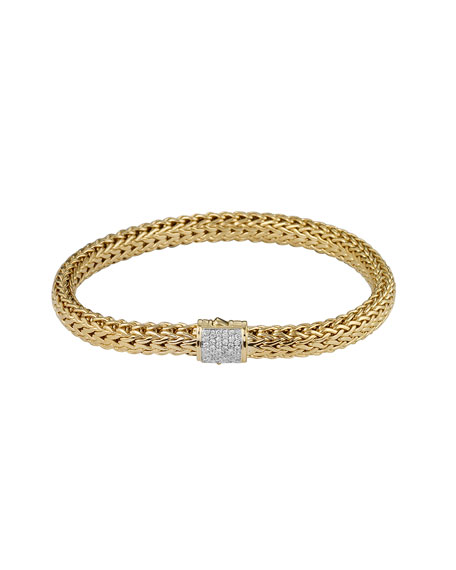 Classic Chain 18k Gold & Diamond Small Bracelet