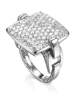 John Hardy Classic Chain Cushion Ring, Diamond