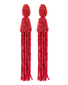 Oscar de la Renta Long Beaded Tassel Earrings, Pink