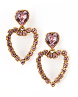 Oscar de la Renta Heart Clip Earrings