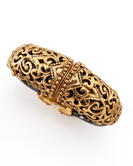 Filigree Resin Cuff, Black