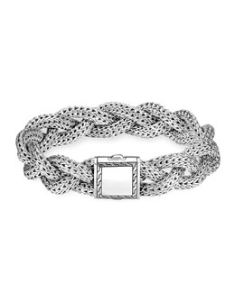 John Hardy Medium Braided Silver Chain Bracelet, Plain