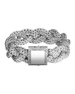 John Hardy Large Braided Silver Chain Bracelet, Plain