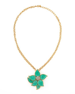 Oscar de la Renta Floral Brooch-Pendant Necklace, Blue