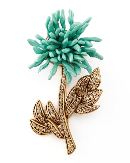 Floral Brooch, Aqua