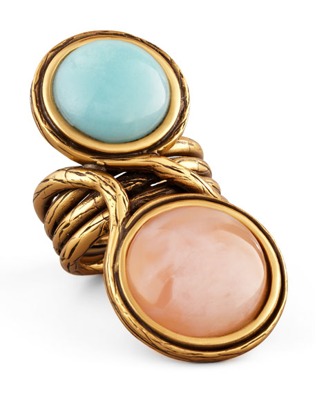 Two-Cabochon Ring, Aqua/Pink