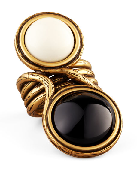 Two-Cabochon Ring, Black/White