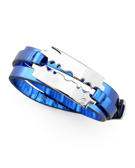 Razor-Blade Wrap Bracelet, Cobalt