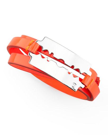 Razor-Blade Wrap Bracelet, Neon Orange