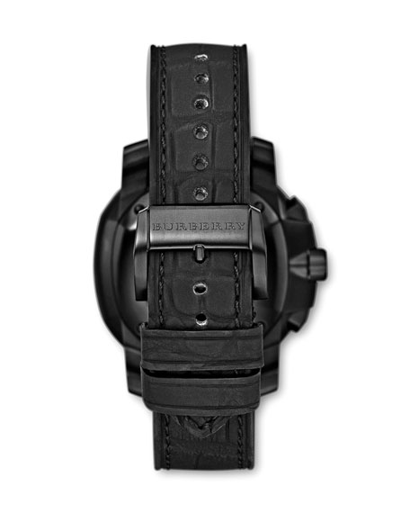 Alligator-Strap Automatic Watch, Black