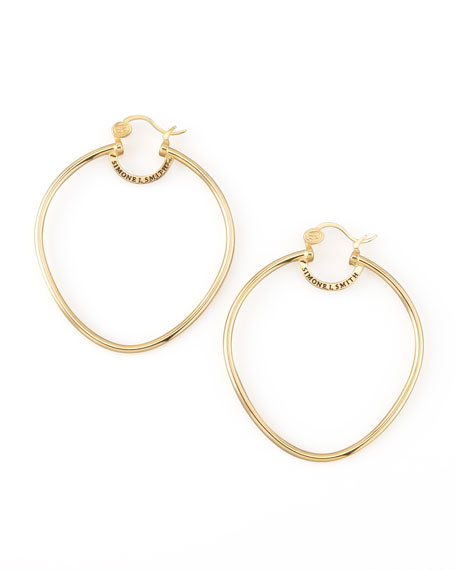 Yellow Gold Precious Fruit Hoop Earrings, Large