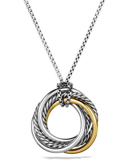 David Yurman Crossover Small Pendant with Gold on