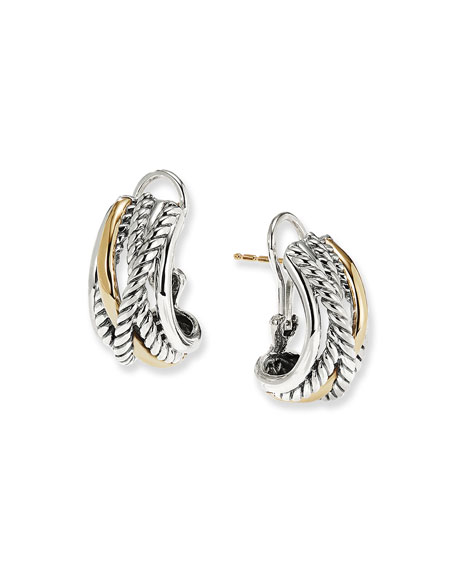 Crossover Earrings with Gold