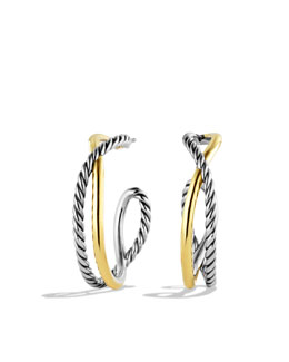David Yurman Crossover Hoop Earrings with Gold