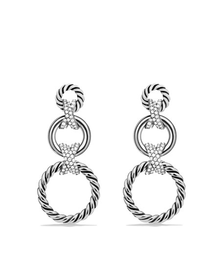 X Triple-Drop Earrings with Diamonds