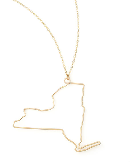 Gold State Pendant Necklace, New York