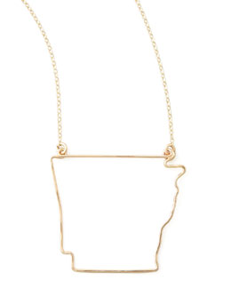 GaugeNYC Gold State Pendant Necklace, Arkansas