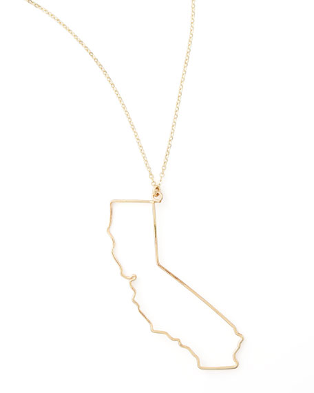 Gold State Pendant Necklace, California