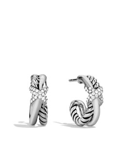 David Yurman Petite X Crossover Earrings with Diamonds