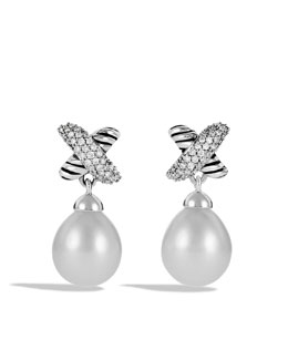 David Yurman X Earrings with Diamonds and Pearls