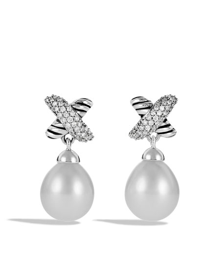 X Earrings with Diamonds and Pearls