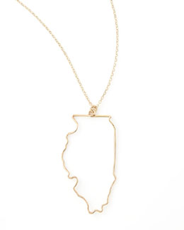 GaugeNYC Gold State Pendant Necklace, Illinois