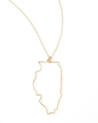 Gold State Pendant Necklace, Illinois