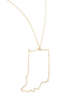 GaugeNYC Gold State Pendant Necklace, Indiana