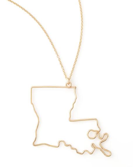 Gold State Pendant Necklace, Louisiana