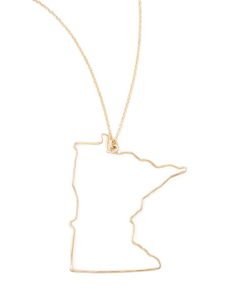 Gold State Pendant Necklace, Minnesota